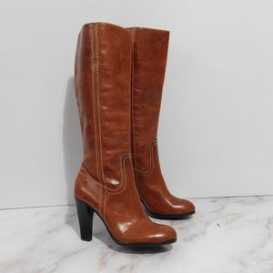 Frye Harlow Leather tan Campus heeled boots 5.5